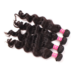 "12"" - 34"" Brazilian Virgin Hair Loose Wavy #1B Natural Black 1pc/4pcs"