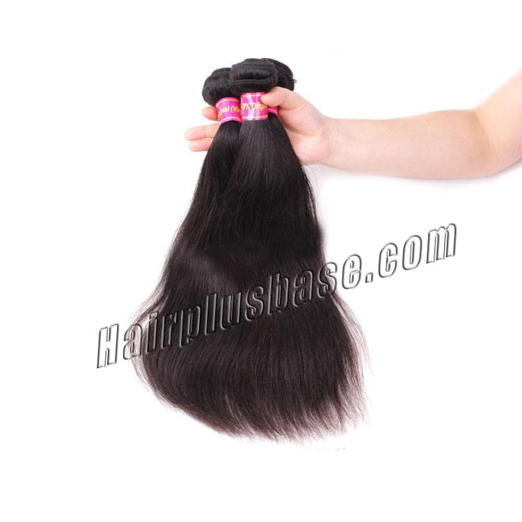 "12"" - 34"" Brazilian Virgin Hair Straight #1B Natural Black 1pc/3pcs no 1"