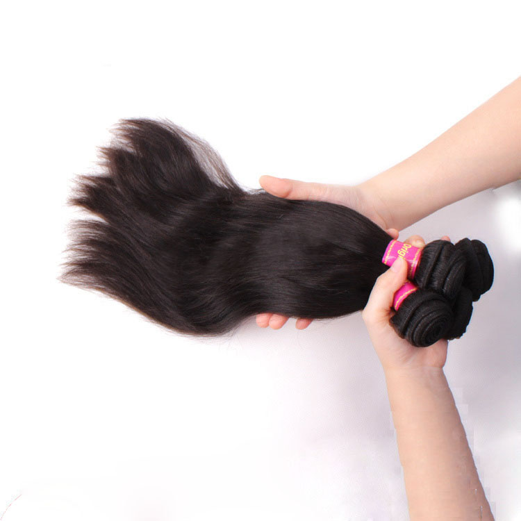 "12"" - 34"" Brazilian Virgin Hair Straight #1B Natural Black 1pc/3pcs"