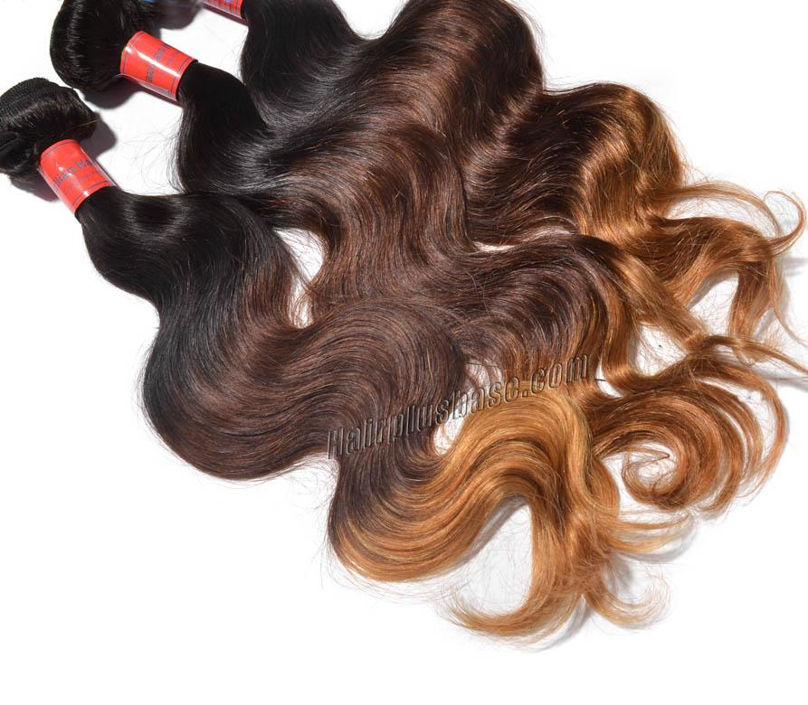 "12"" - 34"" Brunet Ombre Brazilian Remy Hair Body Wave Three Tone Wefts no 2"
