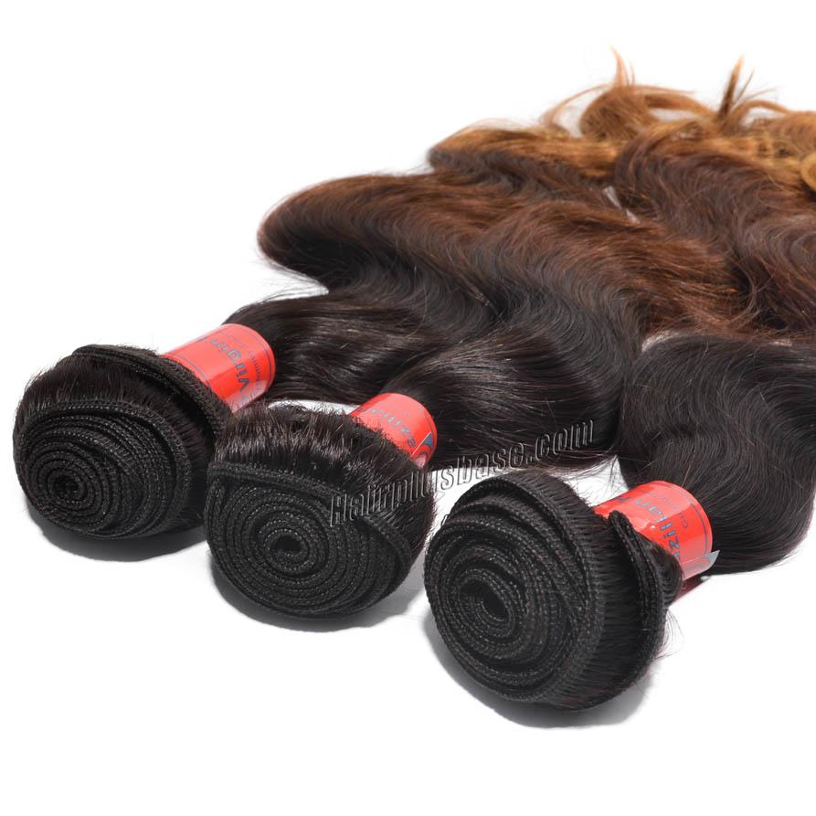 "12"" - 34"" Brunet Ombre Brazilian Remy Hair Body Wave Three Tone Wefts no 3"