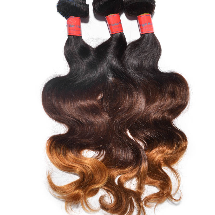 "12"" - 34"" Brunet Ombre Brazilian Remy Hair Body Wave Three Tone Wefts"