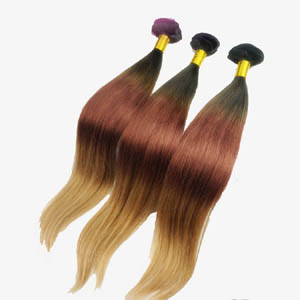 "12"" - 34"" Colorful Ombre Brazilian Remy Hair Straight Three Tone"