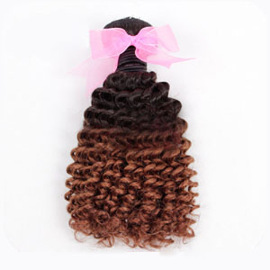 "12"" - 34"" Ombre Brazilian Remy Hair Curly Two Tone #4 and #28"