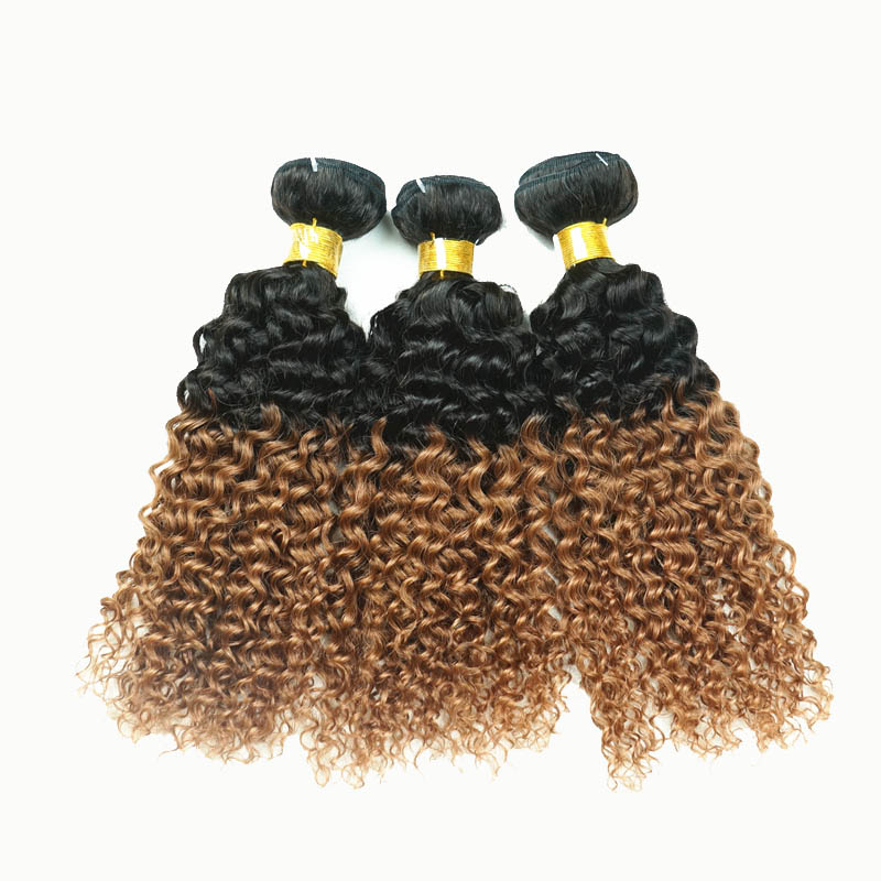 12 34 Ombre Brazilian Remy Hair Extensions Curly Two Tone 1b