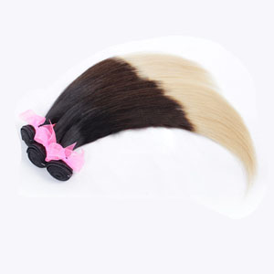 "12"" - 34"" Ombre Brazilian Remy Hair Straight Three Tone Blonde-Auburn-Black 1pc/3pcs"