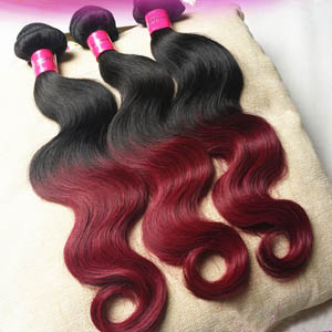 "12"" - 34"" Ombre Brazilian Remy Hair Wefts Body Wave Two Tone as the Pictures"