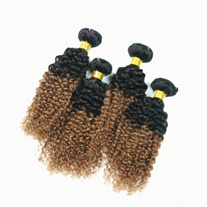 "12"" - 34"" Two Tone Ombre Brazilian Remy Hair Extensions Curly Wefts for 1pc Set or 4pcs Set"