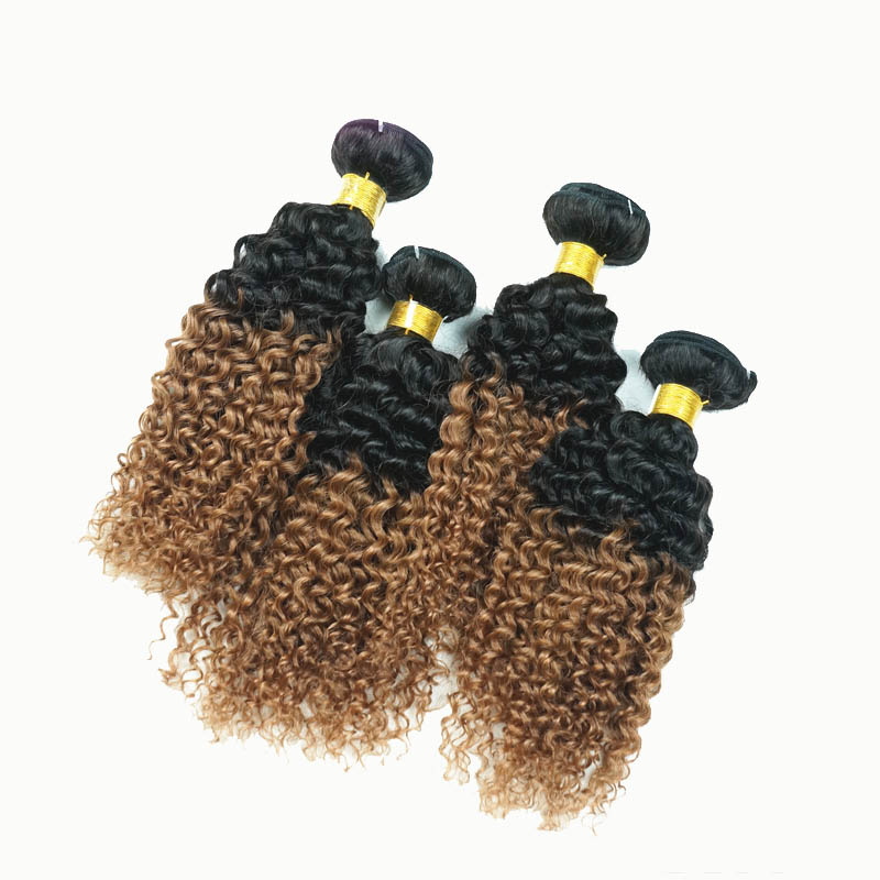 12 34 Two Tone Ombre Brazilian Remy Hair Extensions Curly Wefts