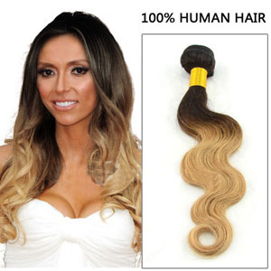 12 - 34 Inch Ombre #1BT#27 Brazilian Remy Hair Body Wave