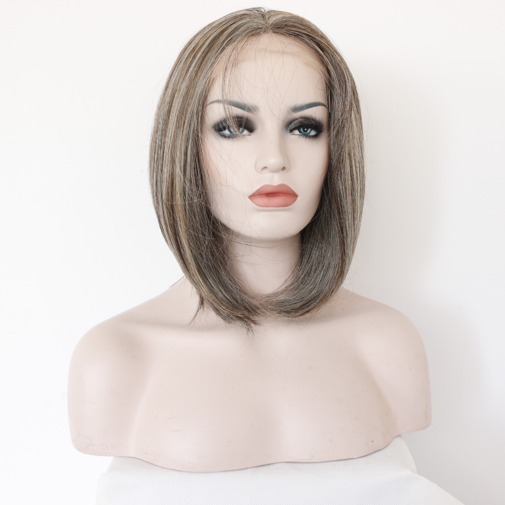 12 Inch Bob Mixed Color Glueless Synthetic Lace Front Wig