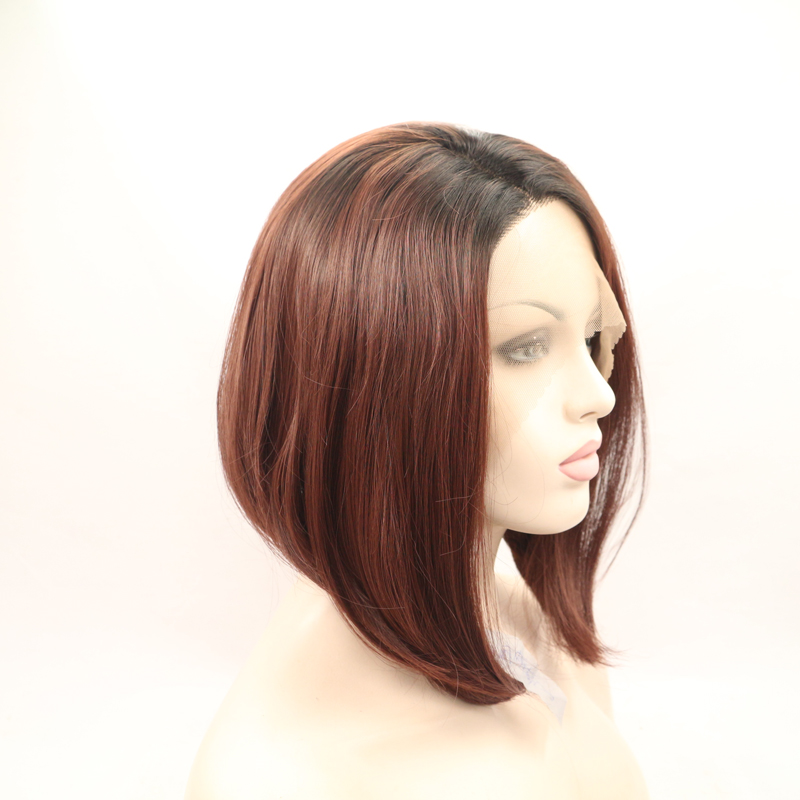 12 Inch Brown BOB Straight Dark Roots Synthetic Lace Front Wig