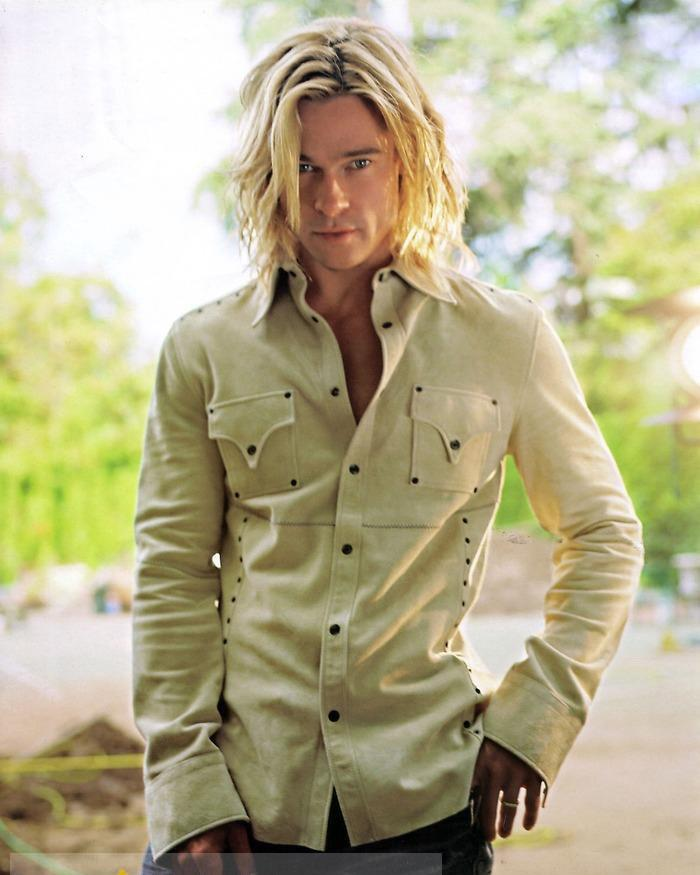 12 Inch Custom Tailored High Quality Sexy Brad Pitt Hairstyle Long Wavy Blonde Full Lace Wig