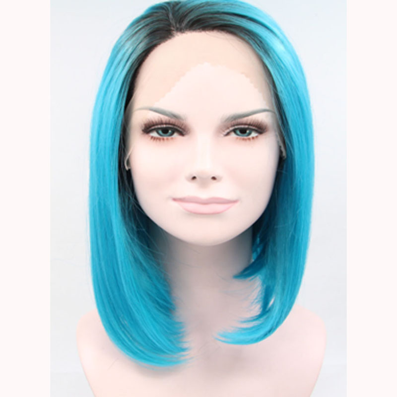12 Inch Dark Boots Blue Ombre Bob Synthetic Lace Front Wig