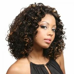 12 Inch European Style Short Curly Brown No Bang African American Lace Wigs for Women