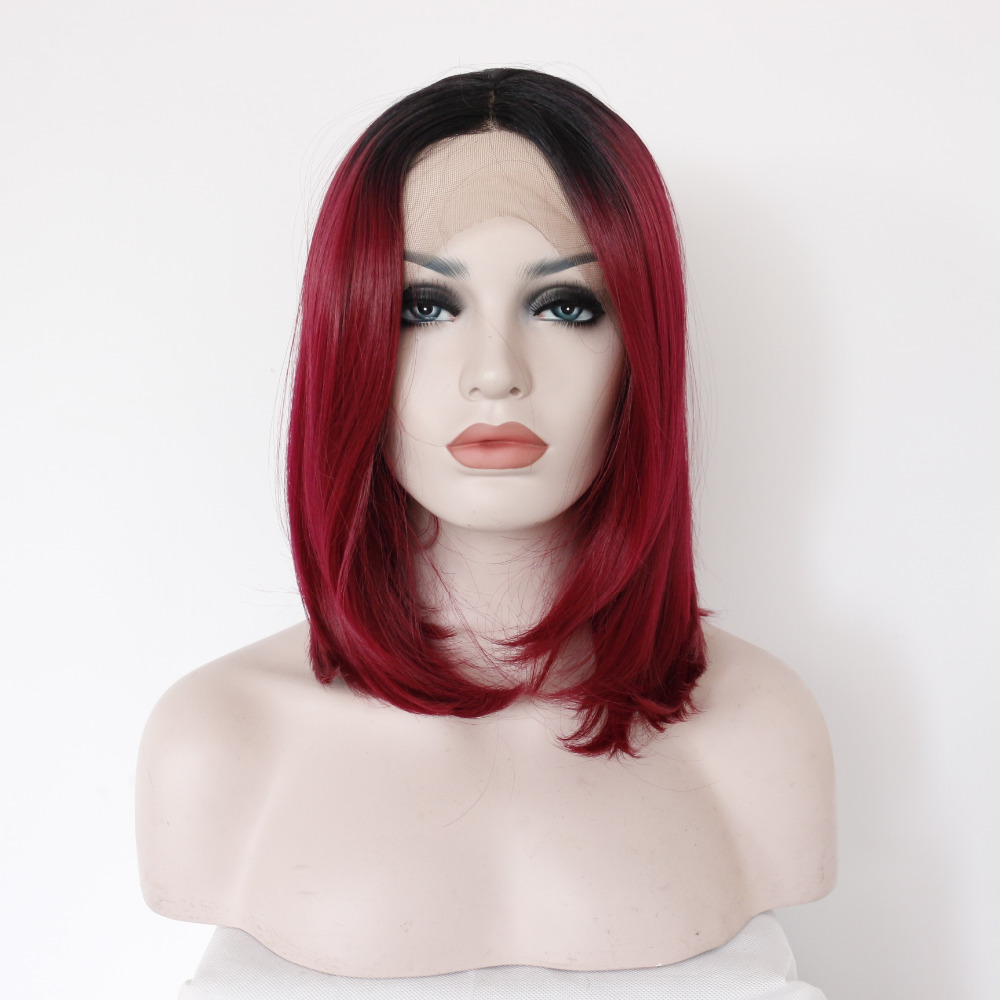 12 Inch Fashion Black To Red Ombre Bob Lace Front Glueless Wig