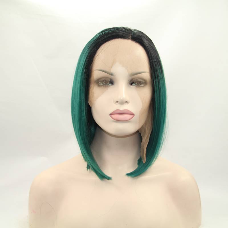 12 Inch Medium BOB Straight Green Ombre Lace Front Wig