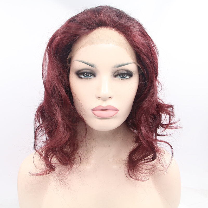 12 Inch Wavy Burgundy Seamless Synthetic Lace Front Wigs