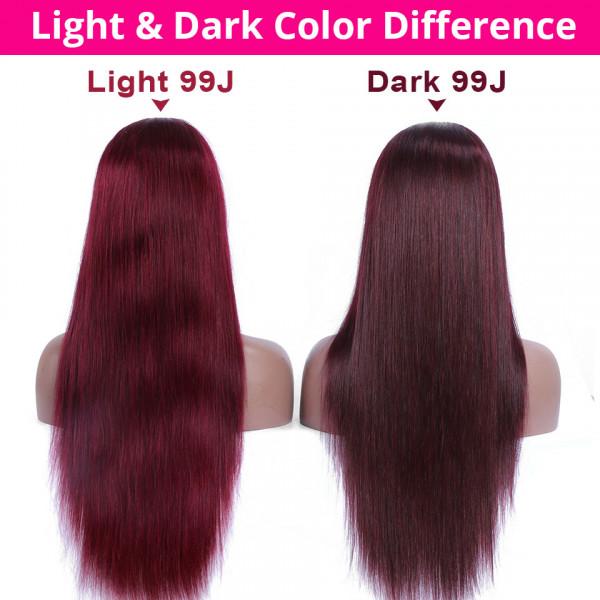 14 - 32 Inch Straight Human Hair Ponytail Drawstring Clip Ponytail Extensions Dark 99J Color