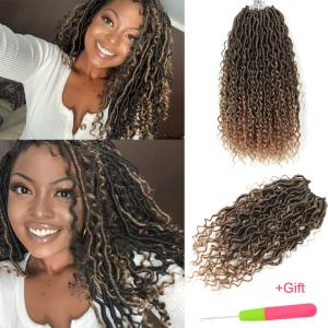 """14"""" Goddess Faux Locs Curly Crochet Braids Synthetic River Locs Hair Extensions"""
