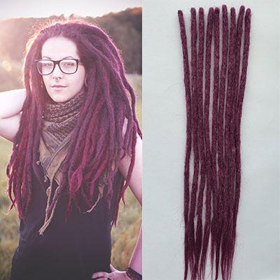 "14 - 20"" 100% Real Human Hair Loc Extensions Handmade Crochet Dreadlocks 10PCS"