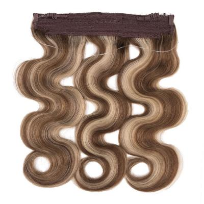 14 - 24 Inch Thick Human Hair Halo Extensions #4/27 Body Wave