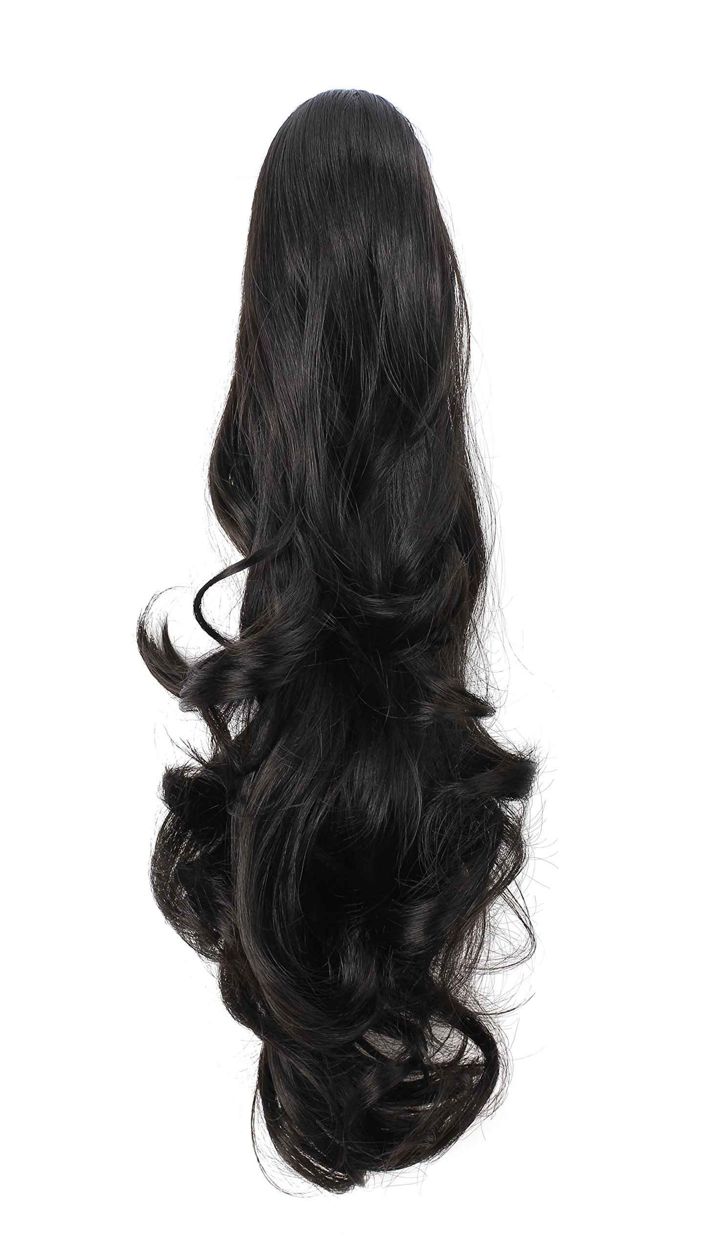 14  - 26 Inch Curly Human Hair Ponytail Claw Clip Ponytail Extensions #1B Natural Black 1