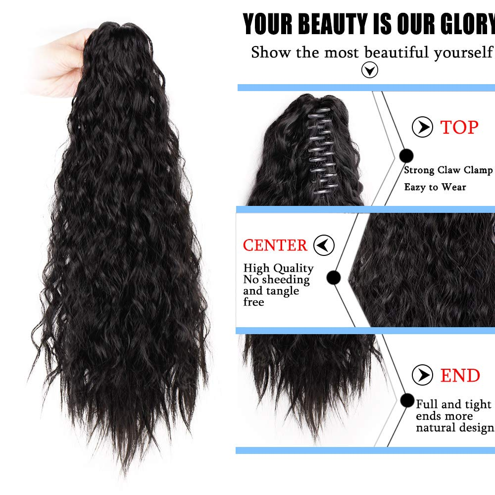 14  - 32 Inch Curly Human Hair Ponytail  Claw Clip Ponytail Extensions #1B Natural Black 1
