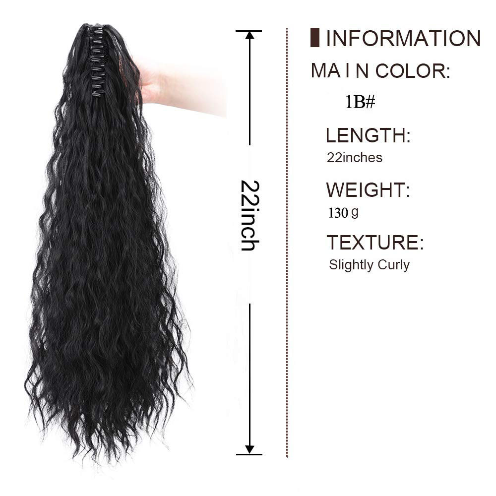 14  - 32 Inch Curly Human Hair Ponytail  Claw Clip Ponytail Extensions #1B Natural Black 2
