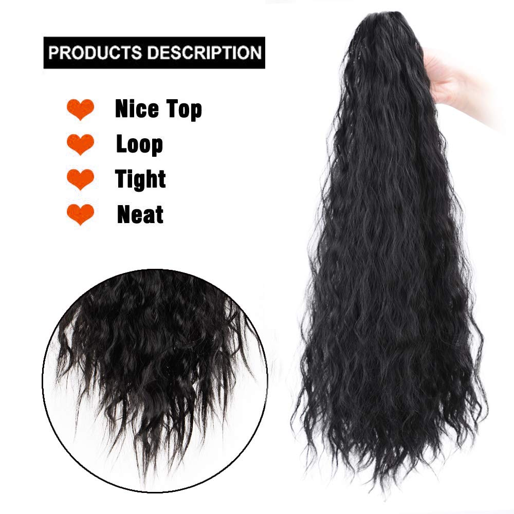 14  - 32 Inch Curly Human Hair Ponytail  Claw Clip Ponytail Extensions #1B Natural Black 3