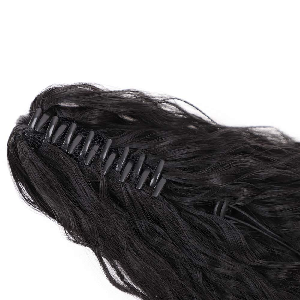 14  - 32 Inch Curly Human Hair Ponytail  Claw Clip Ponytail Extensions #1B Natural Black 4