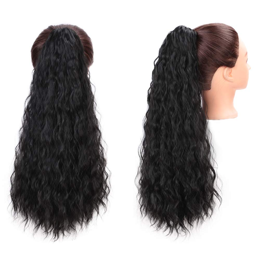 14  - 32 Inch Curly Human Hair Ponytail  Claw Clip Ponytail Extensions #1B Natural Black 5