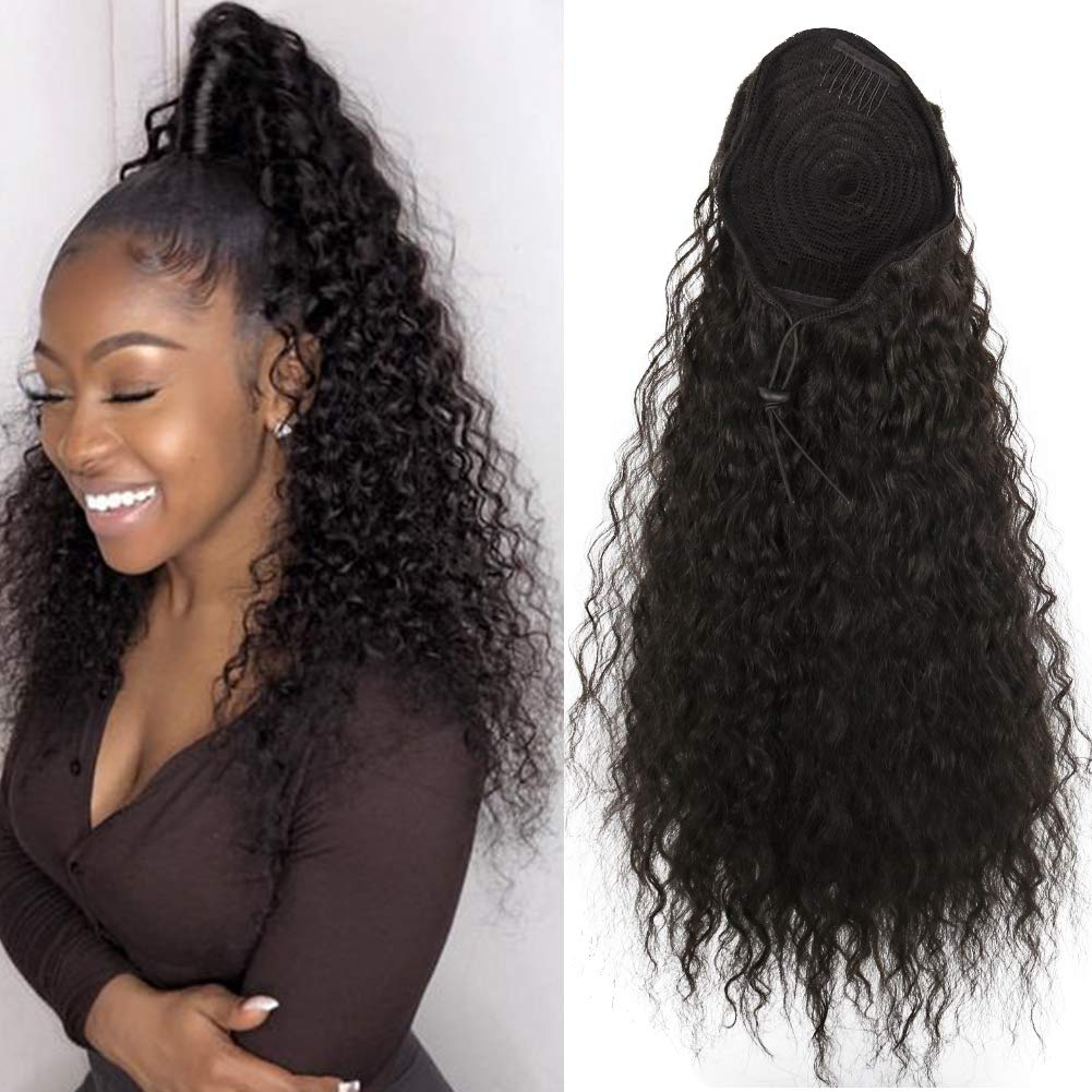 14  - 32 Inch Curly Human Hair Ponytail  Drawstring Ponytail Extensions #1B Natural Black