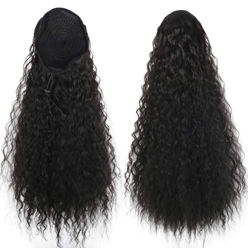 14  - 32 Inch Curly Human Hair Ponytail  Drawstring Ponytail Extensions #1B Natural Black 1