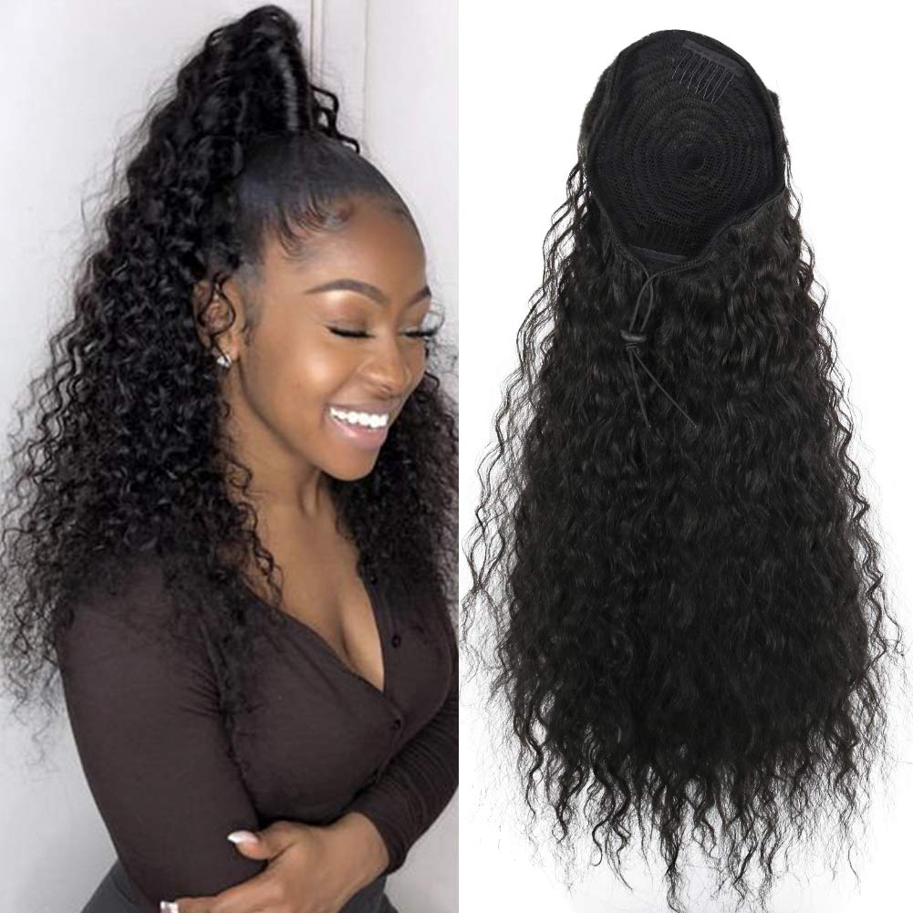 14  - 32 Inch Curly Human Hair Ponytail  Drawstring Ponytail Extensions #1B Natural Black 5