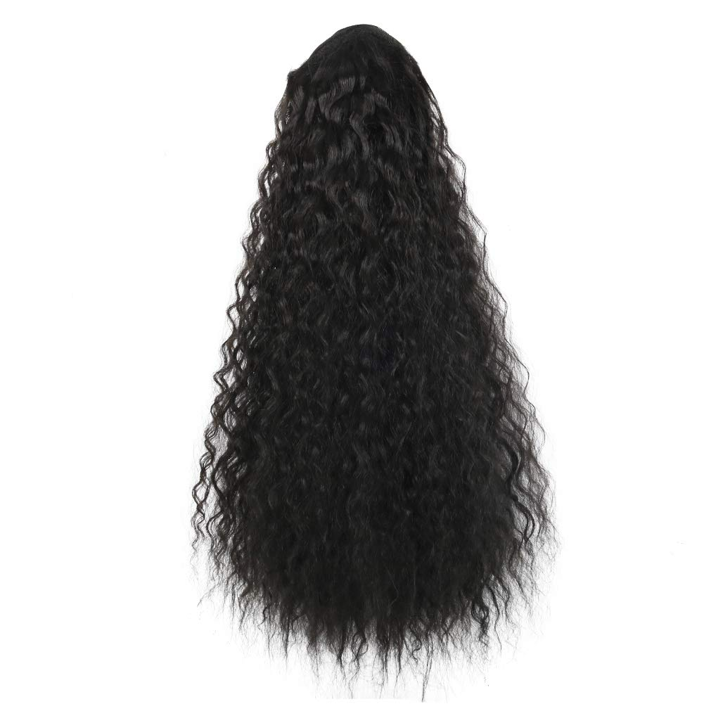 14  - 32 Inch Curly Human Hair Ponytail  Drawstring Ponytail Extensions #1B Natural Black 6