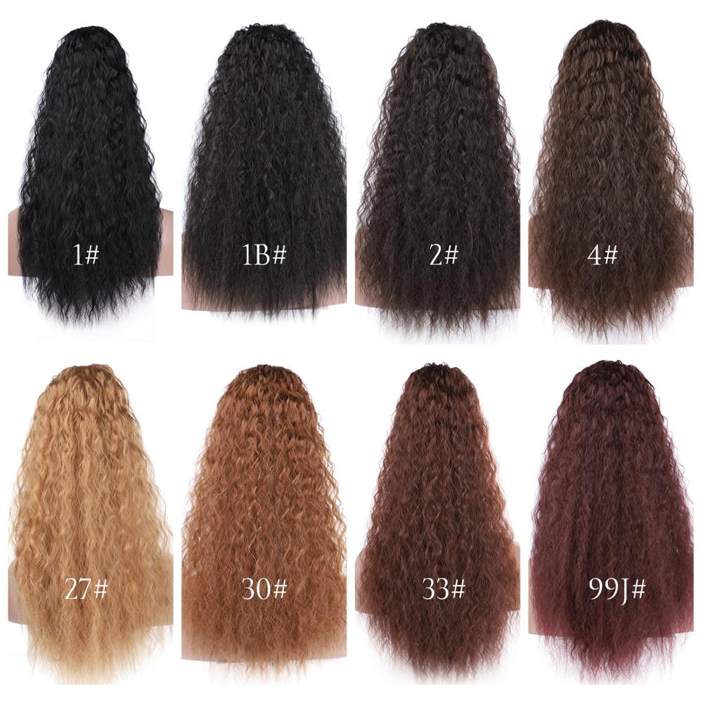 14  - 32 Inch Curly Human Hair Ponytail  Drawstring Ponytail Extensions #1B Natural Black 7