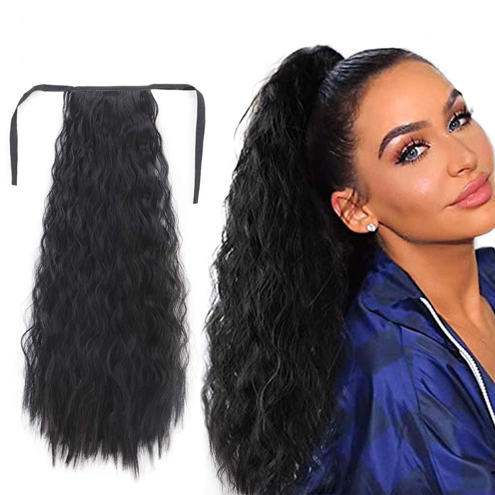 14  - 32 Inch Curly Human Hair Ponytail  Lace/Ribbon Ponytail Extensions #1B Natural Black