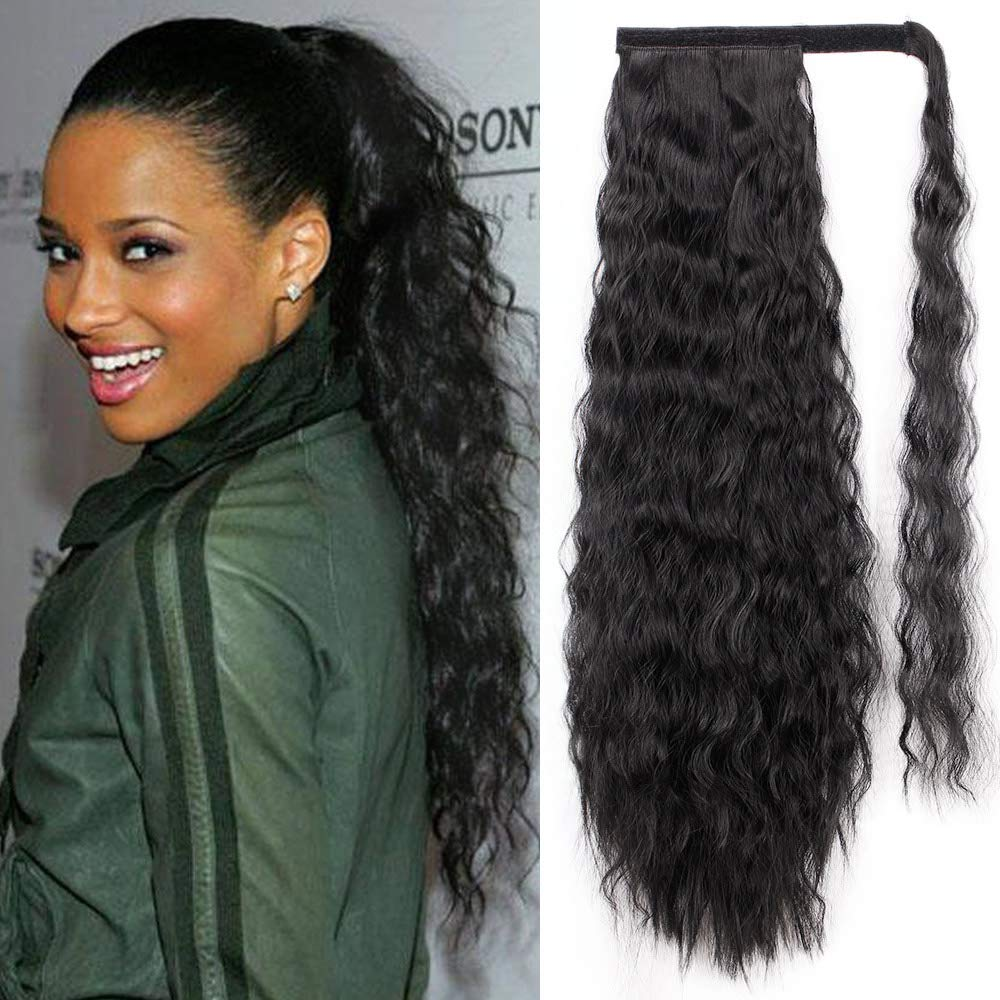 14  - 32 Inch Curly Human Hair Ponytail  Wrap Around Ponytail Extensions #1B Natural Black