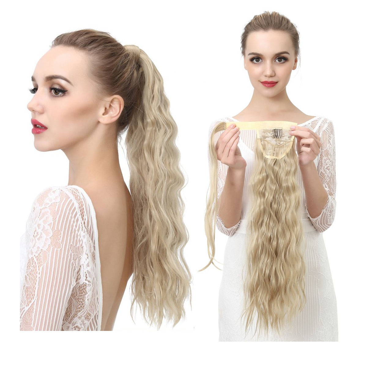 14  -32 Inch Curly Ponytail Human Hair Wrap Around Extensions #27/613