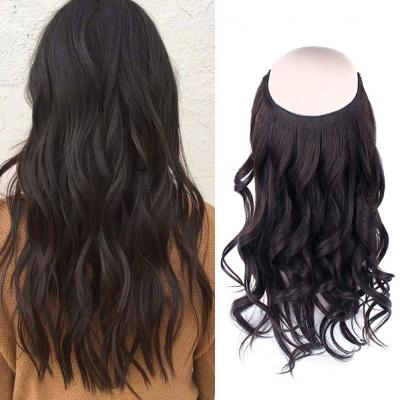 14 - 32 Inch Halo Hair Extensions #2 Black Brown Body Wave/Straight