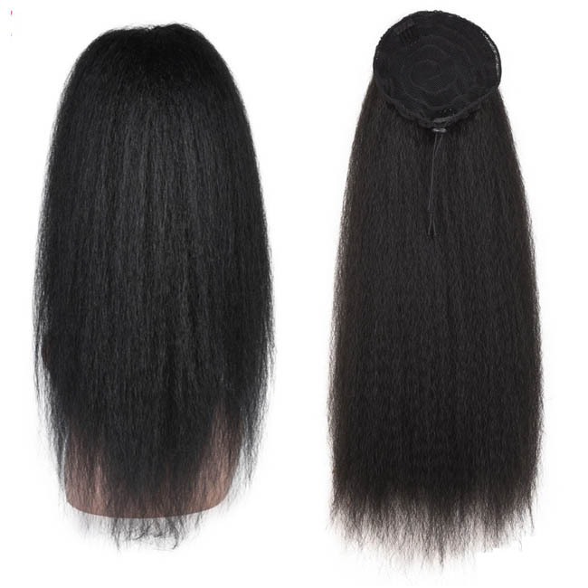 14  - 32 Inch Kinky Straight Human Hair Ponytail  Drawstring Ponytail Extensions #1B Natural Black