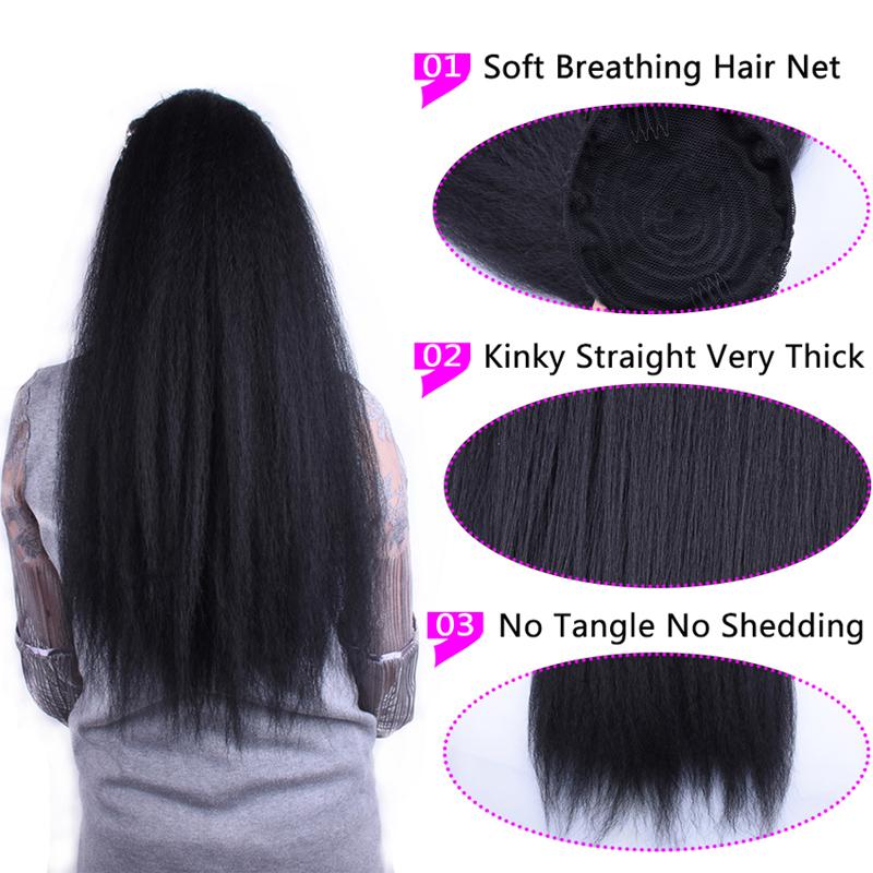 14  - 32 Inch Kinky Straight Human Hair Ponytail  Drawstring Ponytail Extensions #1B Natural Black 3