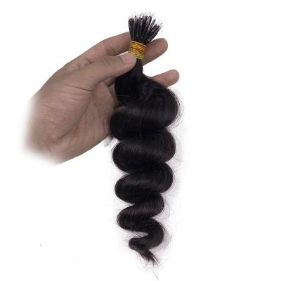 14 - 32 Inch Nano Ring Hair Extensions 100% Human Hair Spiral #1B Natural Black 100S