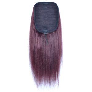 14 - 32 Inch Straight Human Hair Ponytail Drawstring Clip Ponytail Extensions Dark 99J