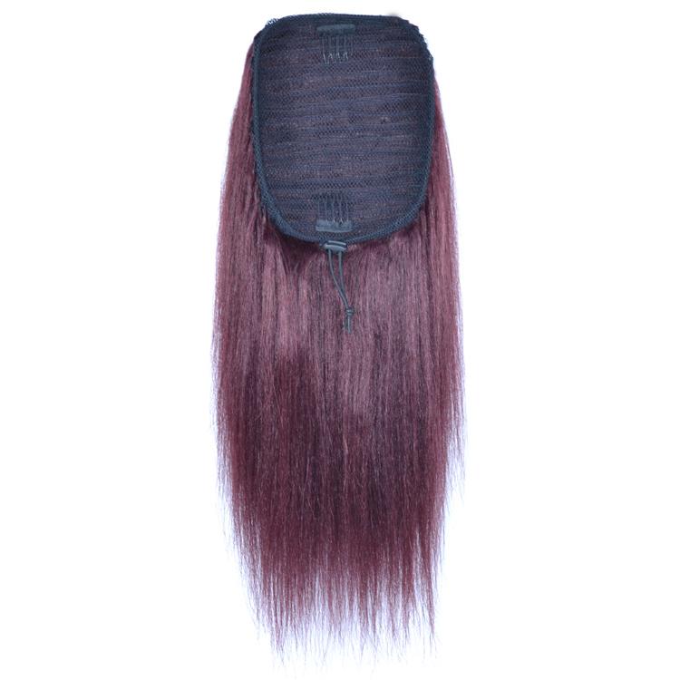 14 - 32 Inch Straight Human Hair Ponytail Drawstring Clip Ponytail Extensions Dark 99J