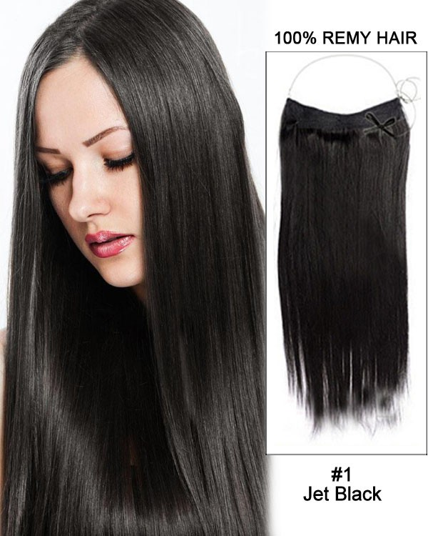 14 - 32 Inch Straight Secret Human Hair Extensions #1 Jet Black