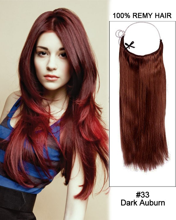 14 32 Inch Straight Secret Human Hair Extensions 33 Dark Auburn