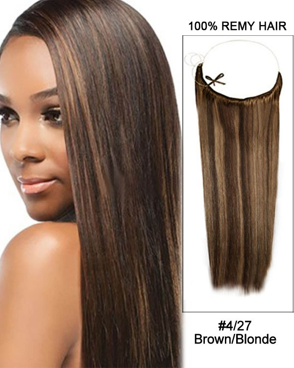 14 - 32 Inch Straight Secret Human Hair Extensions #4/27 Brown Blonde