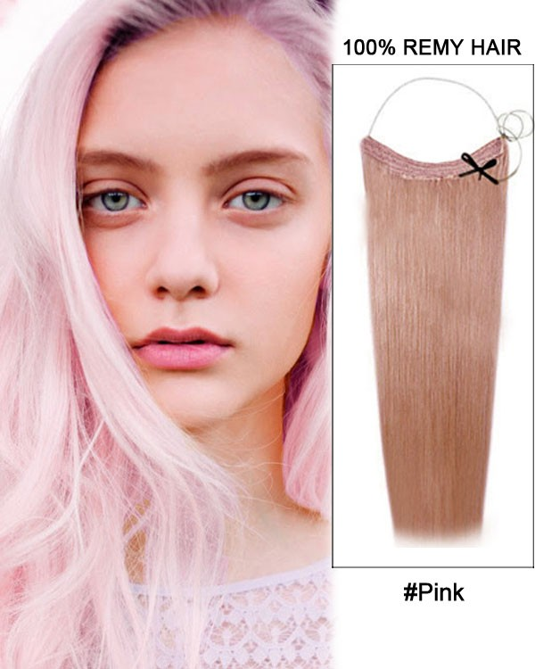 14 32 Inch Straight Secret Human Hair Extensions Pink
